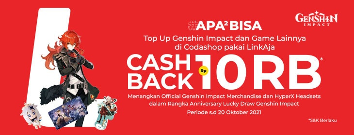Genshin Impact Linkaja Promo on Codashop Indonesia